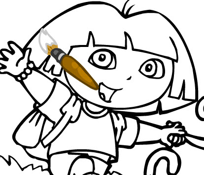 Dora Coloring on Dora Coloring Page   Drawing Kids   Gamesperk Games   Gamekb