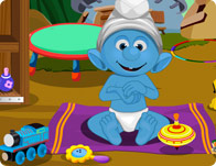 play Smurfs Baby Bathing