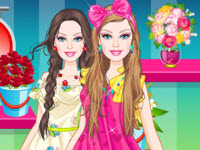play Barbie Flower Girl Dress Up
