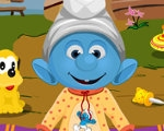 play Smurf Baby Bathing