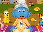 play Smurf Baby Bathing