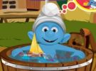 play Smurfs Baby Bathing