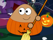 Pou Halloween Cleanup game