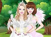 play Barbie White Swan Bride Dress Up