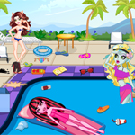 Monster high swimming pool cleaning fun for Two player swimming pool games