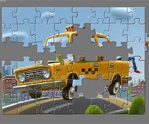 Jumping Taxi Jigsaw game