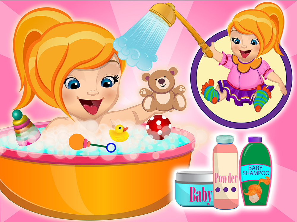 baby emma bathing game free online games. Black Bedroom Furniture Sets. Home Design Ideas