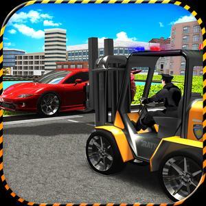 play Police Forklift Vs Car Traffic