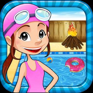 play Pool Party & Bonfire - Bbq Cooking Adventure & Chef Game