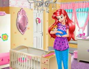 Ariel baby room decoration girls for Baby rooms decoration games