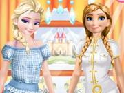 Elsa And Anna Work Dress Up game