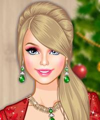 play Barbie Christmas Glam Make Up Game
