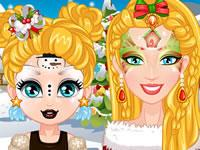 play Barbie Christmas Face Painting