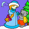play Snow Maiden And Little Bear Coloring