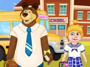Masha And Bear Going To School game