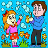Kids With Bubble Kit Coloring game