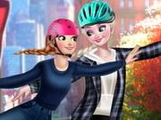 Elsa And Anna Roller Skating game