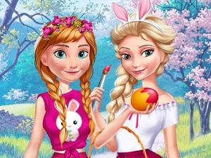 Anna And Elsa Easter Fun game