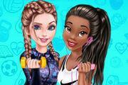 Elsa And Tiana Workout Buddies Girl game