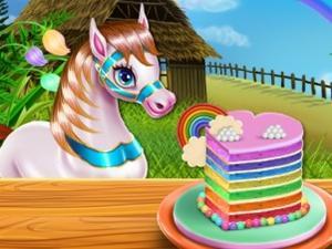 play Pony Cooking Rainbow Cake
