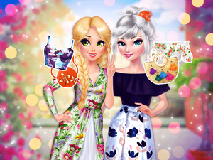Elsa And Rapunzel Pretty In Floral game