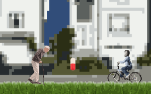 An Old Man Trying To Pick Up Pills, But This Kid Is Riding A Bicycle. game