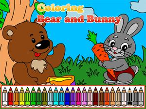 play Coloring Bear And Bunny