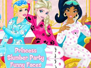 play Princess Slumber Party Funny Faces