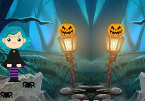 play Halloween White Cat Escape (8B Games