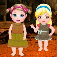 Twin Girls War Place Rescue game