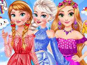 play Princesses Rainbow Dressup H5