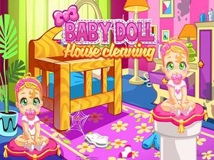 play Baby Doll House Cleaning