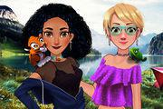 Jasmine And Rapunzel On Camping Girl game