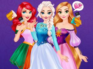 play Princesses Rainbow Dresses