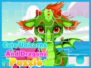 play Cute Unicorns And Dragons Puzzle